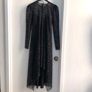 HIRAETH Estella Lace Midi Black Lace Dress